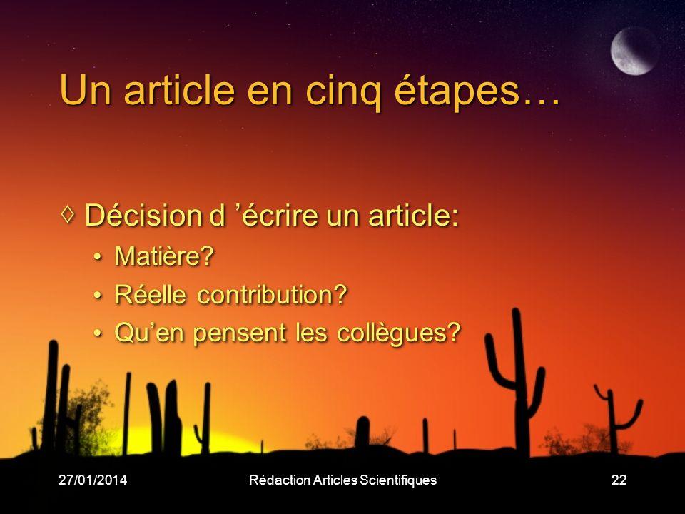 27/01/2014Rédaction Articles Scientifiques22 Un article en cinq étapes… Décision d écrire un article: Matière.
