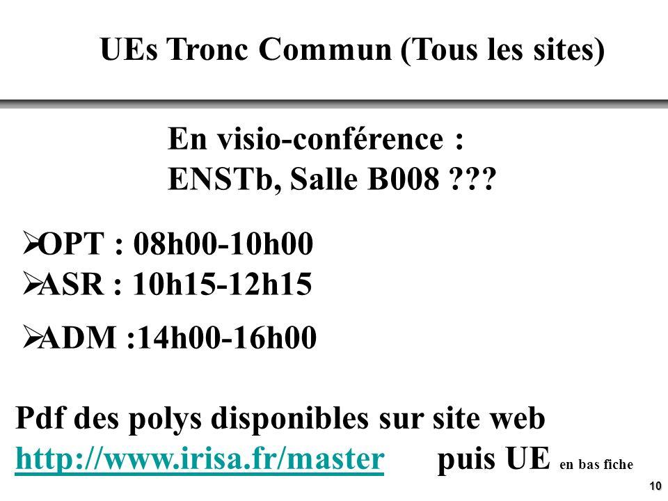 10 UEs Tronc Commun (Tous les sites) OPT : 08h00-10h00 ASR : 10h15-12h15 ADM :14h00-16h00 En visio-conférence : ENSTb, Salle B008 .