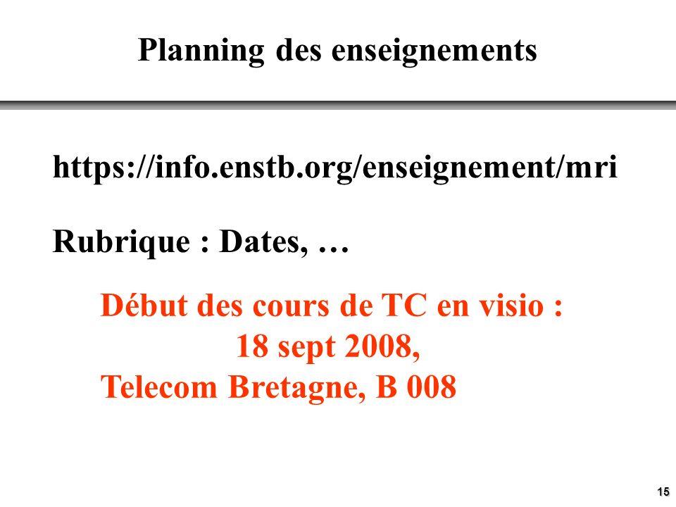15 Planning des enseignements https://info.enstb.org/enseignement/mri Rubrique : Dates, … Début des cours de TC en visio : 18 sept 2008, Telecom Bretagne, B 008