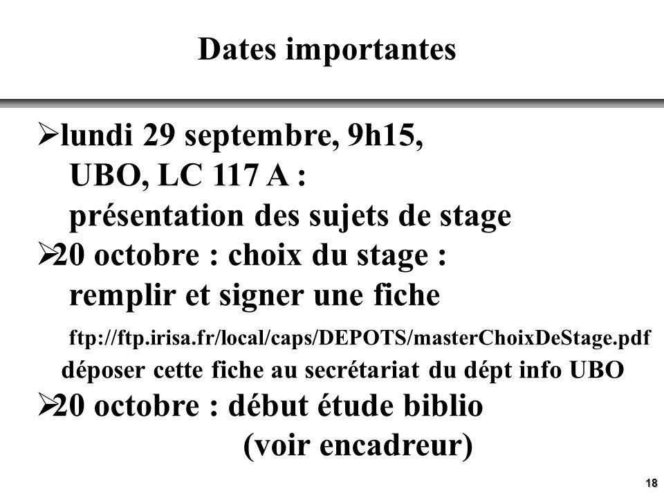 18 Dates importantes lundi 29 septembre, 9h15, UBO, LC 117 A : présentation des sujets de stage 20 octobre : choix du stage : remplir et signer une fiche ftp://ftp.irisa.fr/local/caps/DEPOTS/masterChoixDeStage.pdf déposer cette fiche au secrétariat du dépt info UBO 20 octobre : début étude biblio (voir encadreur)