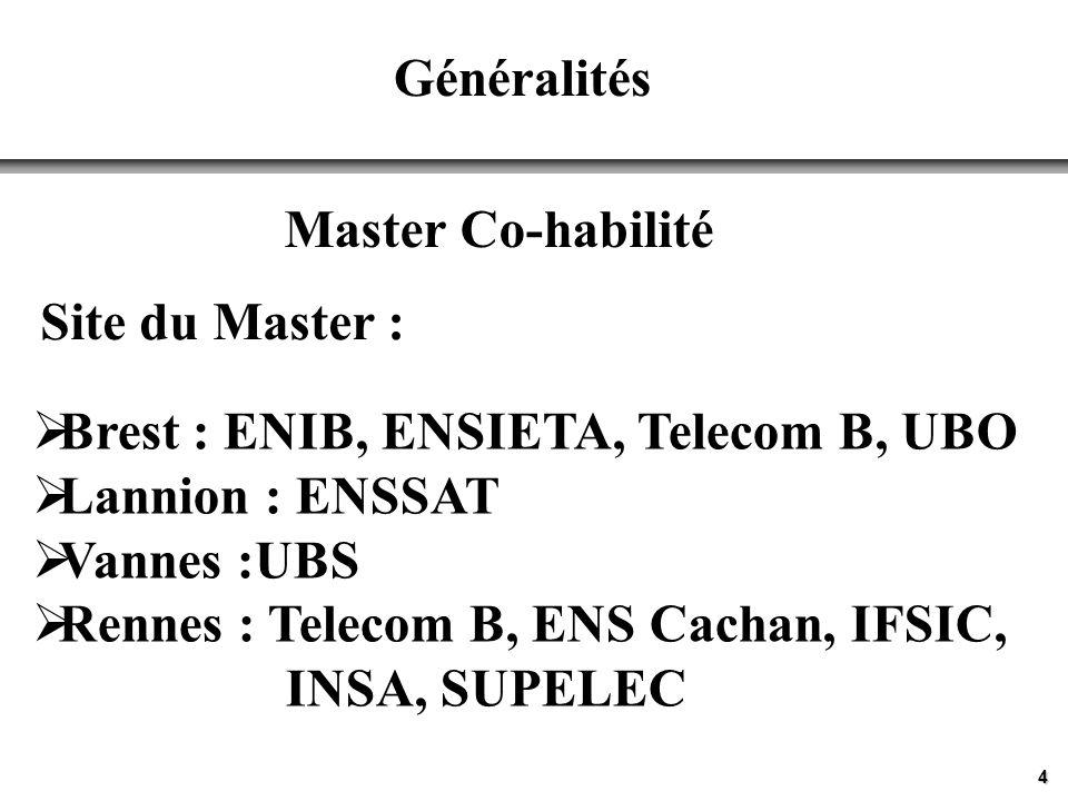 4 Généralités Master Co-habilité Site du Master : Brest : ENIB, ENSIETA, Telecom B, UBO Lannion : ENSSAT Vannes :UBS Rennes : Telecom B, ENS Cachan, IFSIC, INSA, SUPELEC