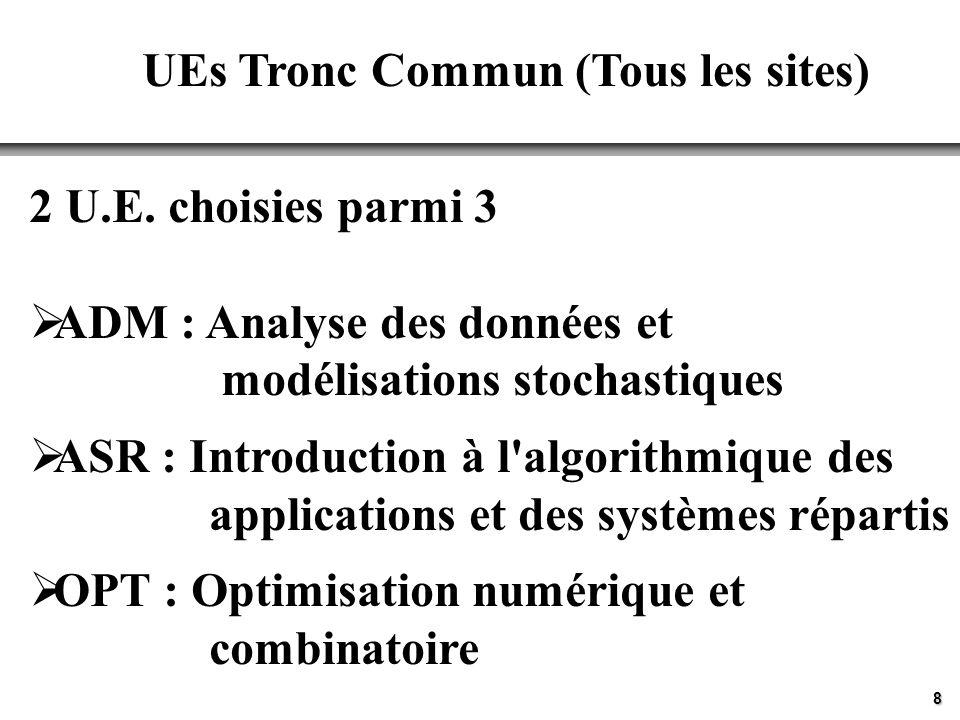 8 UEs Tronc Commun (Tous les sites) 2 U.E.