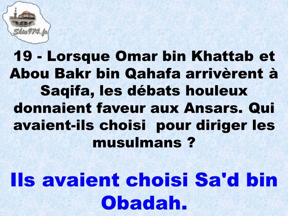 Ils avaient choisi Sa'd bin Obadah.