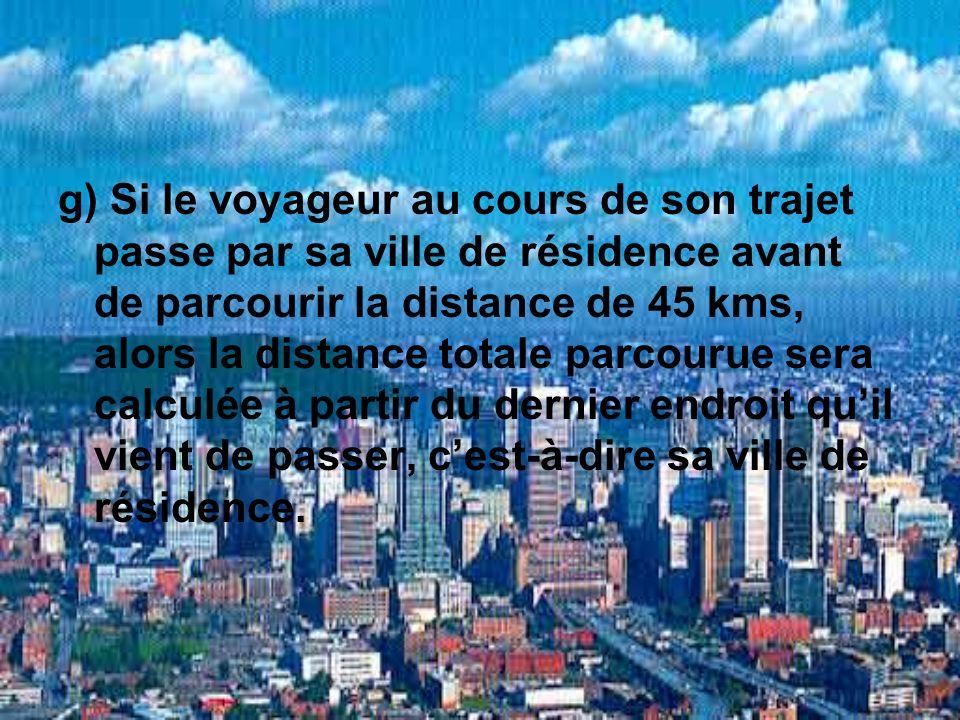 g) Si le voyageur au cours de son trajet passe par sa ville de résidence avant de parcourir la distance de 45 kms, alors la distance totale parcourue