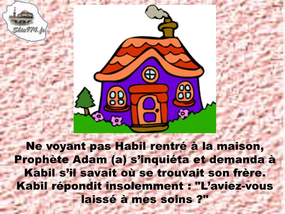 Ne voyant pas Habil rentré à la maison, Prophète Adam (a) sinquiéta et demanda à Kabil sil savait où se trouvait son frère.