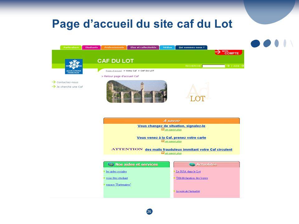25 Page daccueil du site caf du Lot