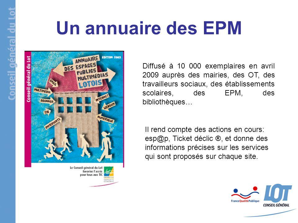 Un annuaire des EPM Diffusé à 10 000 exemplaires en avril 2009 auprès des mairies, des OT, des travailleurs sociaux, des établissements scolaires, des