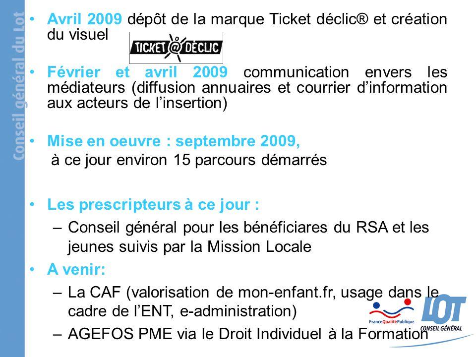 Avril 2009 dépôt de la marque Ticket déclic® et création du visuel Février et avril 2009 communication envers les médiateurs (diffusion annuaires et c