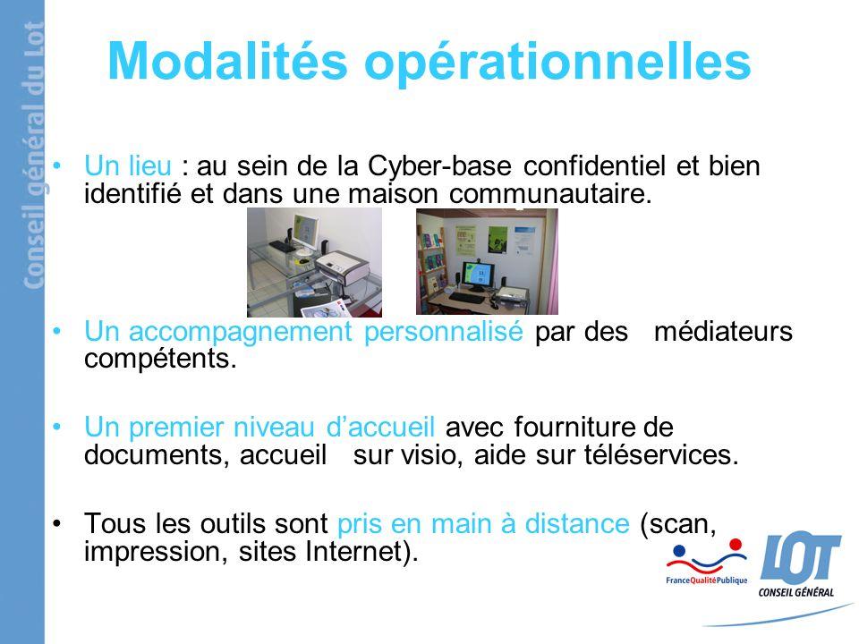 Modalités opérationnelles Un lieu : au sein de la Cyber-base confidentiel et bien identifié et dans une maison communautaire. Un accompagnement person