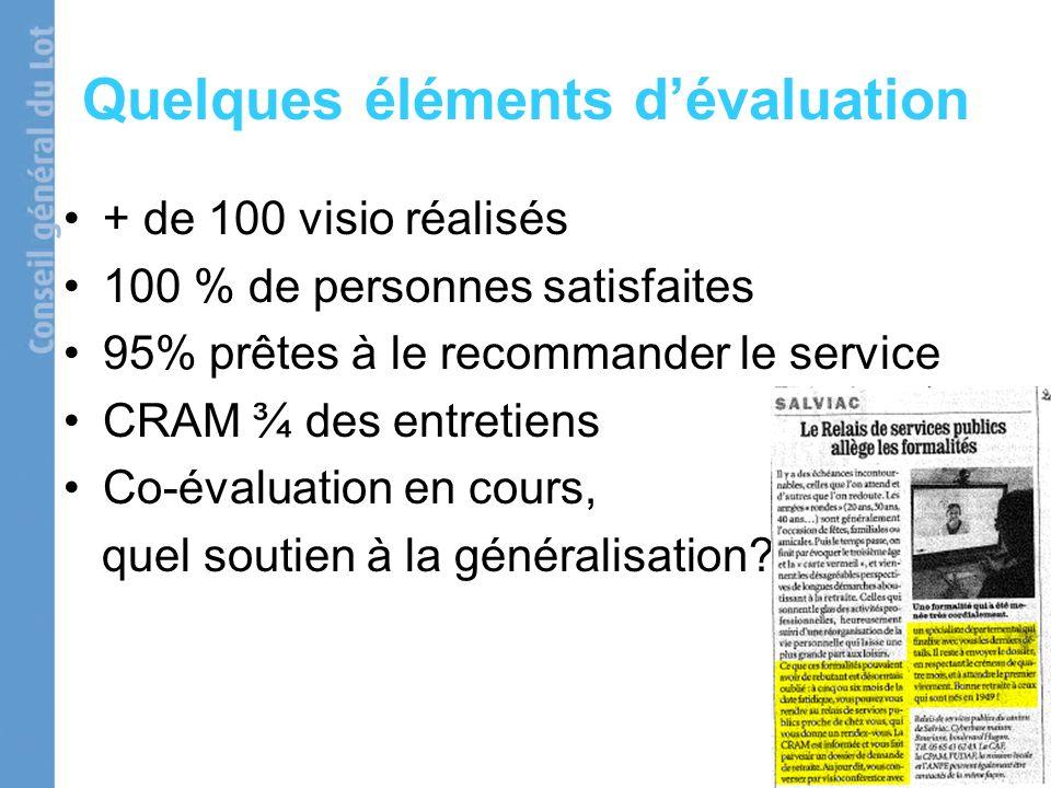 Quelques éléments dévaluation + de 100 visio réalisés 100 % de personnes satisfaites 95% prêtes à le recommander le service CRAM ¾ des entretiens Co-évaluation en cours, quel soutien à la généralisation