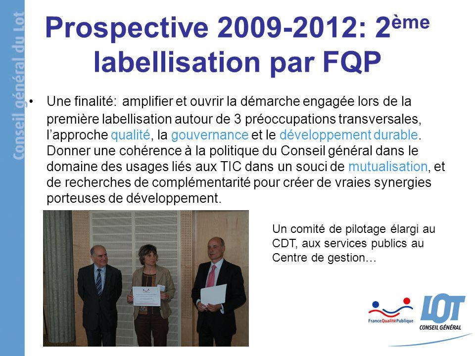 Prospective 2009-2012: 2 ème labellisation par FQP Une finalité: amplifier et ouvrir la démarche engagée lors de la première labellisation autour de 3 préoccupations transversales, lapproche qualité, la gouvernance et le développement durable.