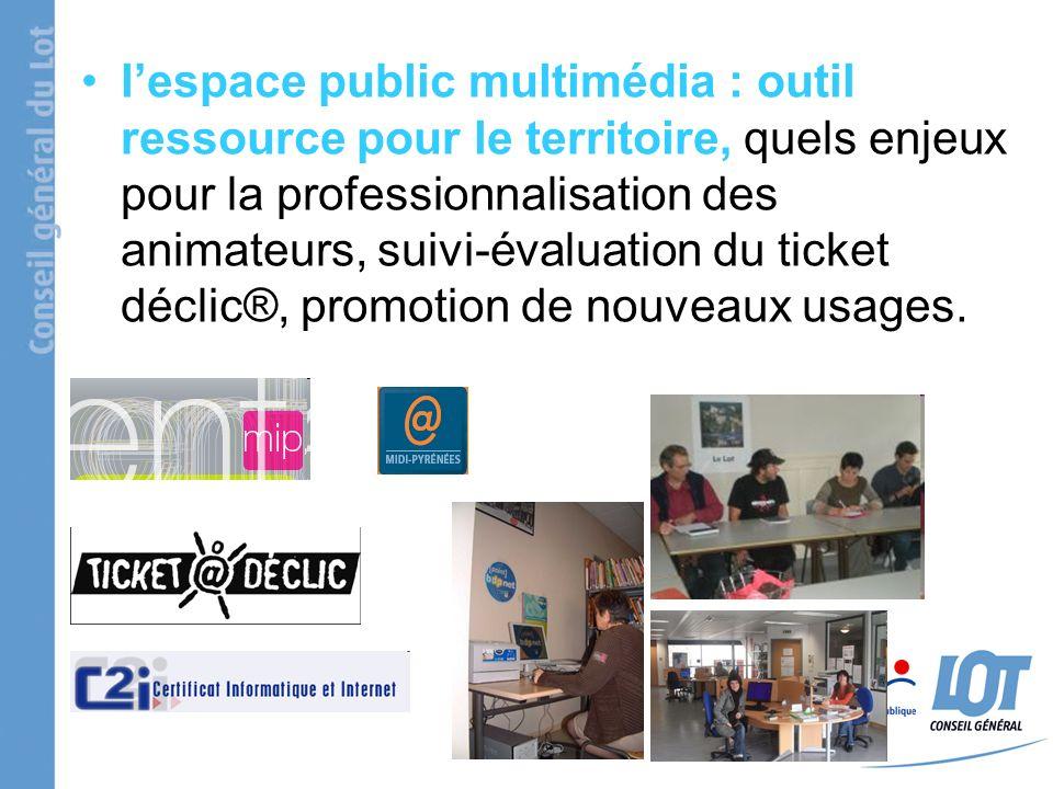 lespace public multimédia : outil ressource pour le territoire, quels enjeux pour la professionnalisation des animateurs, suivi-évaluation du ticket d