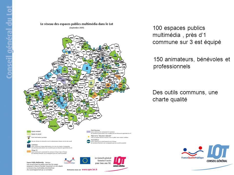 100 espaces publics multimédia, près d1 commune sur 3 est équipé 150 animateurs, bénévoles et professionnels Des outils communs, une charte qualité