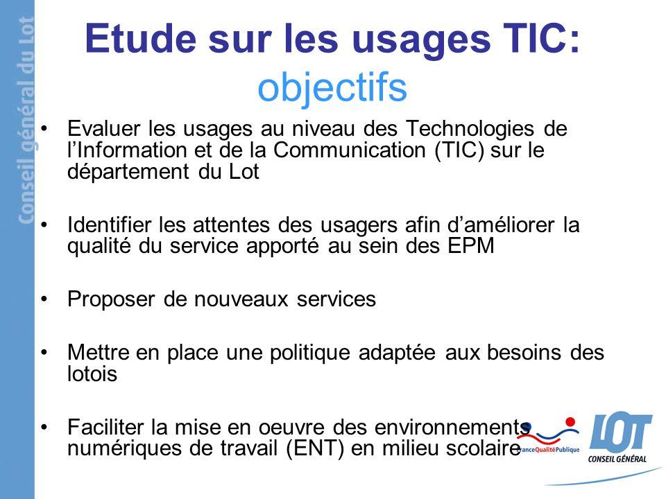Etude sur les usages TIC: objectifs Evaluer les usages au niveau des Technologies de lInformation et de la Communication (TIC) sur le département du L