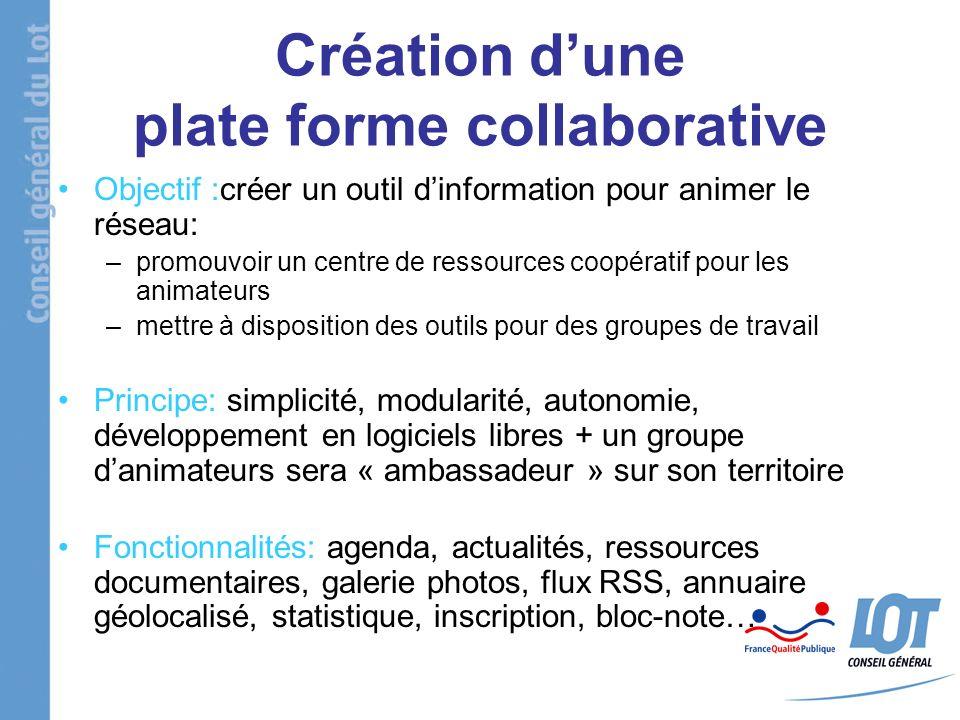 Création dune plate forme collaborative Objectif :créer un outil dinformation pour animer le réseau: –promouvoir un centre de ressources coopératif po
