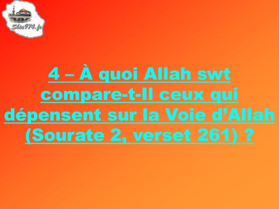 4 – À quoi Allah swt compare-t-Il ceux qui dépensent sur la Voie dAllah (Sourate 2, verset 261) ?