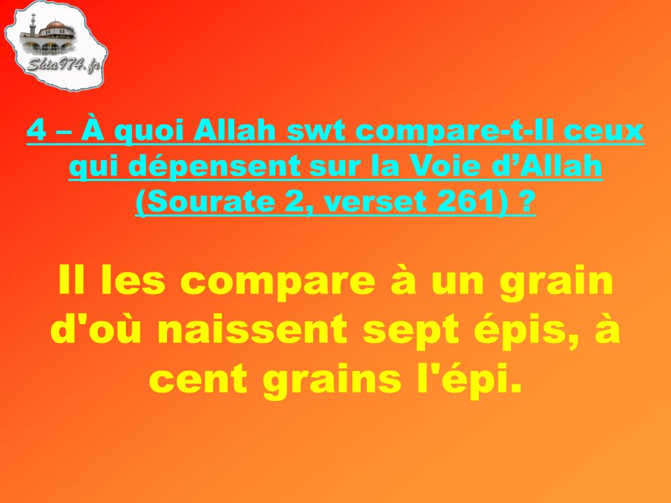 Il les compare à un grain d'où naissent sept épis, à cent grains l'épi.