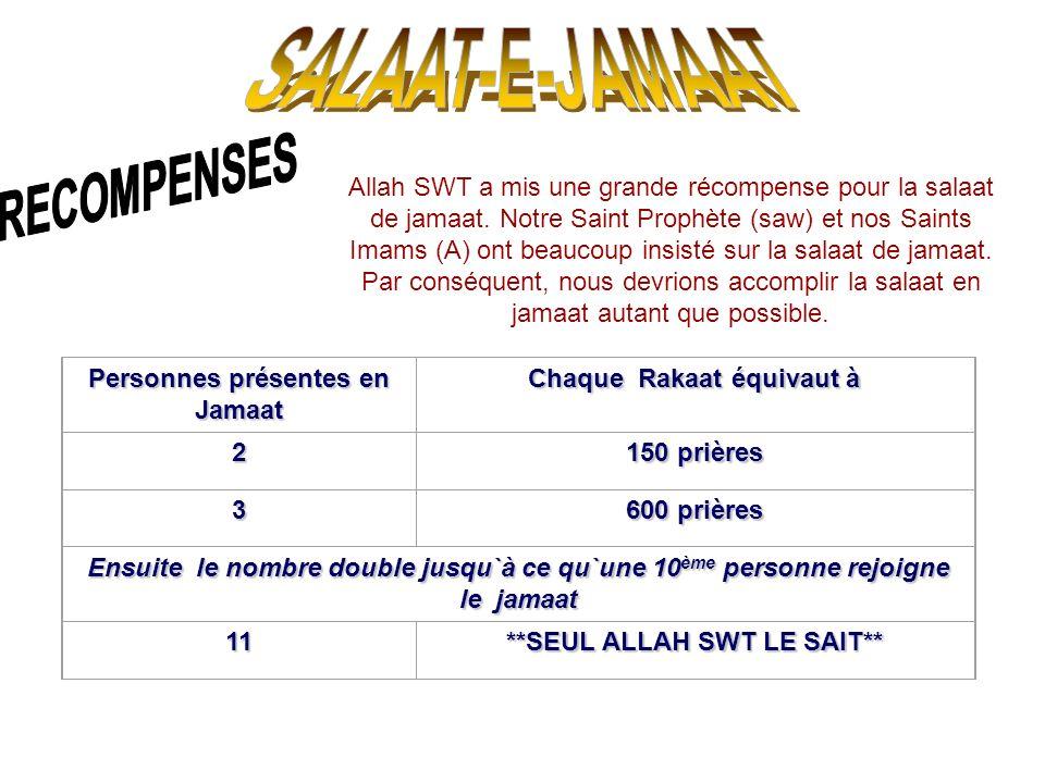 Allah SWT a mis une grande récompense pour la salaat de jamaat. Notre Saint Prophète (saw) et nos Saints Imams (A) ont beaucoup insisté sur la salaat