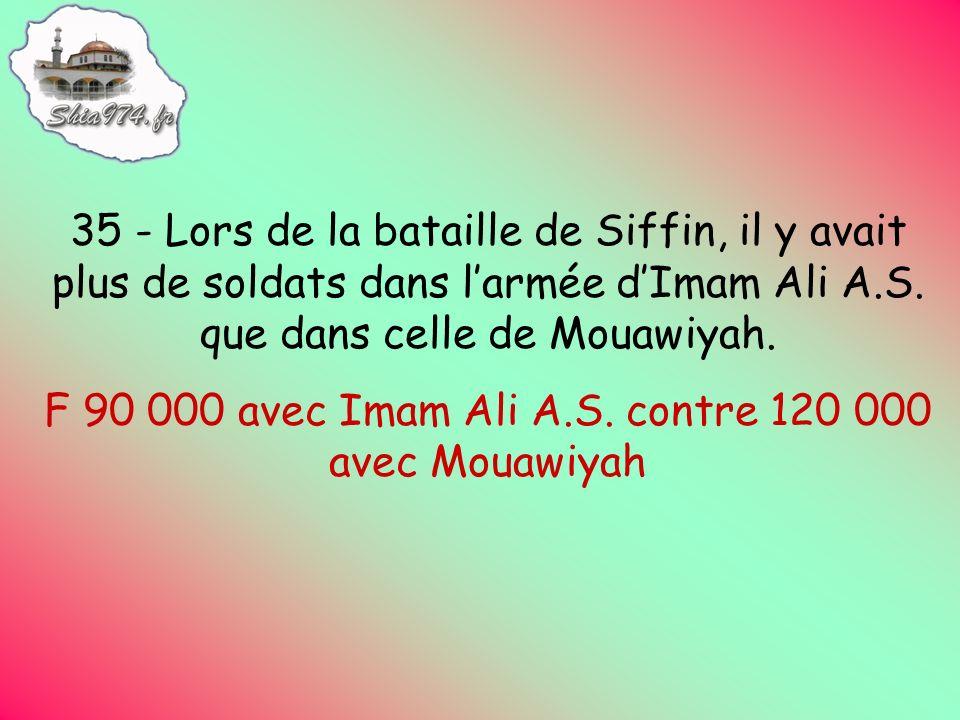 F 90 000 avec Imam Ali A.S. contre 120 000 avec Mouawiyah