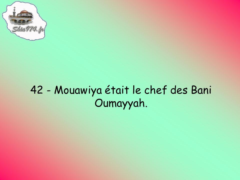 42 - Mouawiya était le chef des Bani Oumayyah.