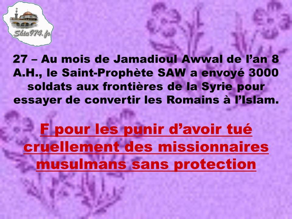 F pour les punir davoir tué cruellement des missionnaires musulmans sans protection