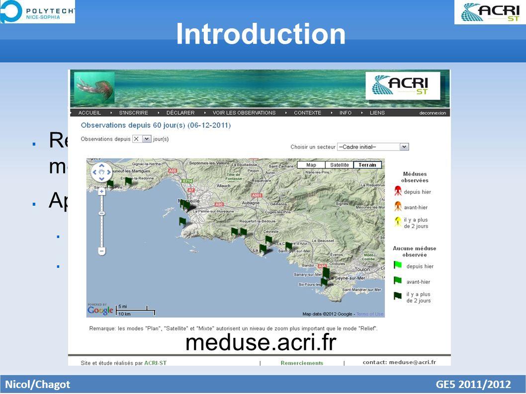 Introduction Recenser la présence ou l absence de méduses Approche citoyenne collaborative Type de méduses Conditions météorologiques Nicol/Chagot GE5 2011/2012 meduse.acri.fr
