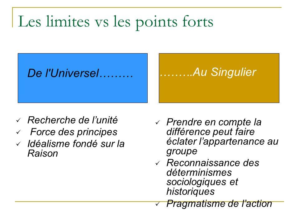 Les limites vs les points forts De l'Universel……… Recherche de lunité Force des principes Idéalisme fondé sur la Raison ……….Au Singulier Prendre en co