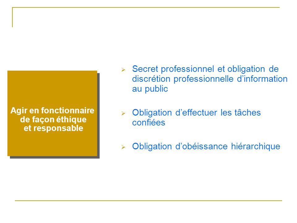 Secret professionnel et obligation de discrétion professionnelle dinformation au public Obligation deffectuer les tâches confiées Obligation dobéissan