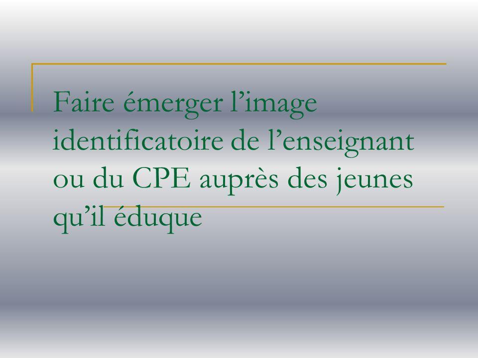 Faire émerger limage identificatoire de lenseignant ou du CPE auprès des jeunes quil éduque