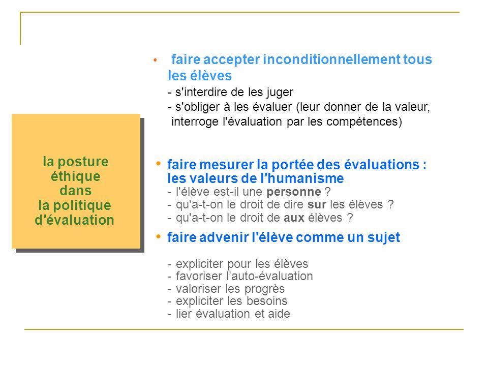 la posture éthique dans la politique d évaluation faire advenir l élève comme un sujet -expliciter pour les élèves -favoriser lauto-évaluation -valoriser les progrès -expliciter les besoins -lier évaluation et aide faire accepter inconditionnellement tous les élèves - s interdire de les juger - s obliger à les évaluer (leur donner de la valeur, interroge l évaluation par les compétences) faire mesurer la portée des évaluations : les valeurs de l humanisme -l élève est-il une personne .