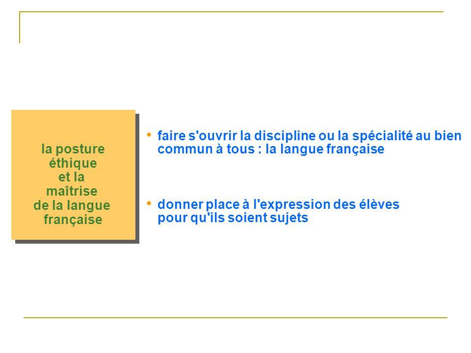 la posture éthique et la maîtrise de la langue française la posture éthique et la maîtrise de la langue française faire s ouvrir la discipline ou la spécialité au bien commun à tous : la langue française donner place à l expression des élèves pour qu ils soient sujets