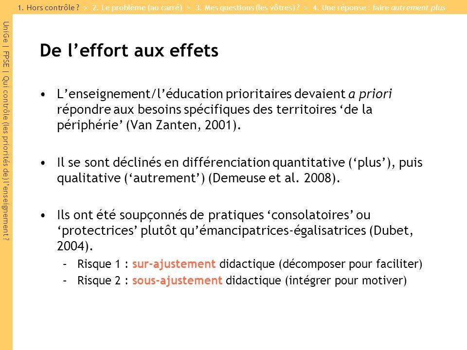 UniGe | FPSE | Qui contrôle (les priorités de) lenseignement ? De leffort aux effets Lenseignement/léducation prioritaires devaient a priori répondre