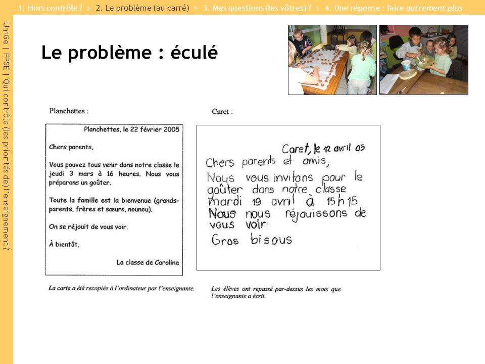 UniGe | FPSE | Qui contrôle (les priorités de) lenseignement ? Le problème : éculé Enfants douvriers : Planchettes : 65% | Caret : 5% 1. Hors contrôle
