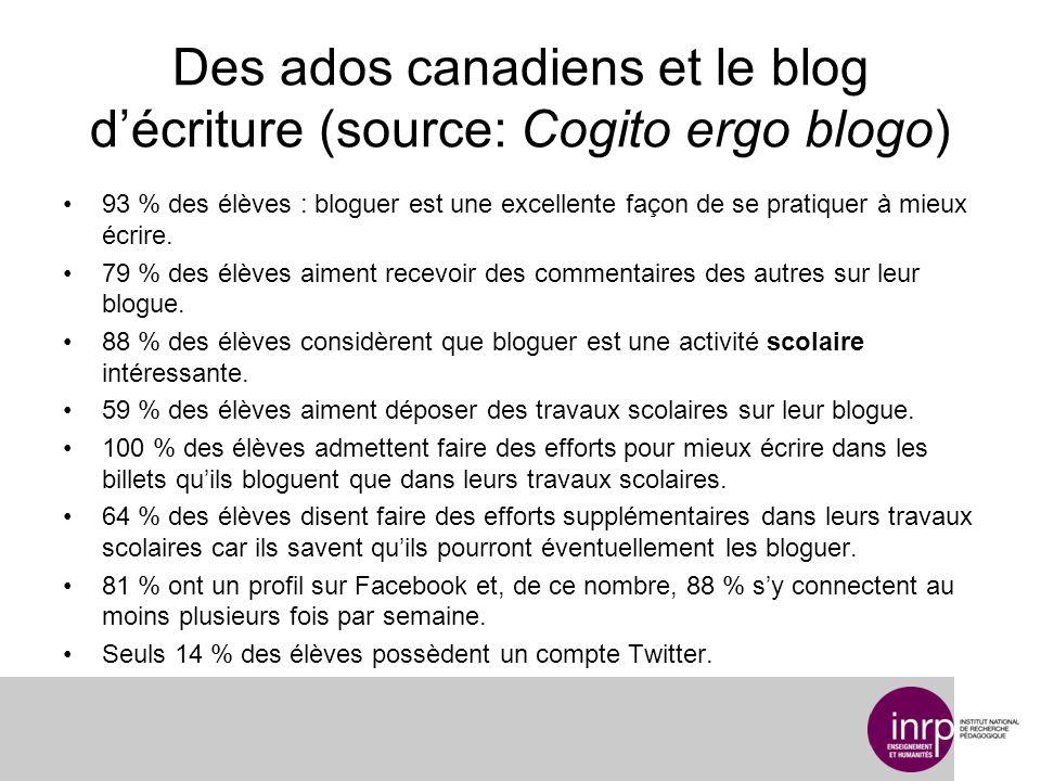 Des ados canadiens et le blog décriture (source: Cogito ergo blogo) 93 % des élèves : bloguer est une excellente façon de se pratiquer à mieux écrire.