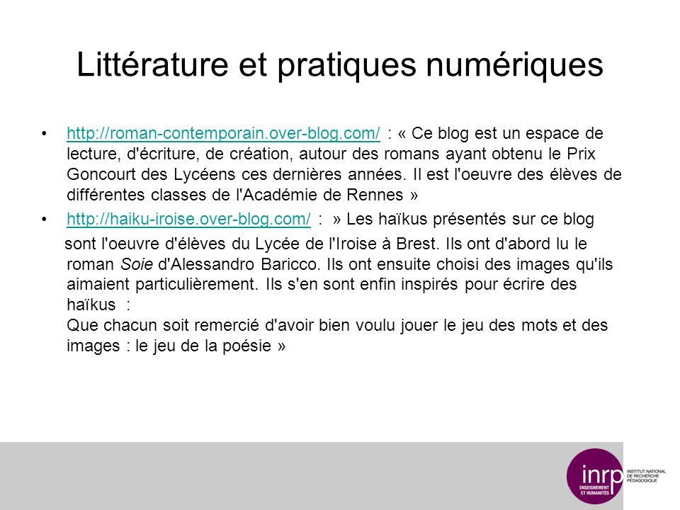 Littérature et pratiques numériques http://roman-contemporain.over-blog.com/ : « Ce blog est un espace de lecture, d écriture, de création, autour des romans ayant obtenu le Prix Goncourt des Lycéens ces dernières années.