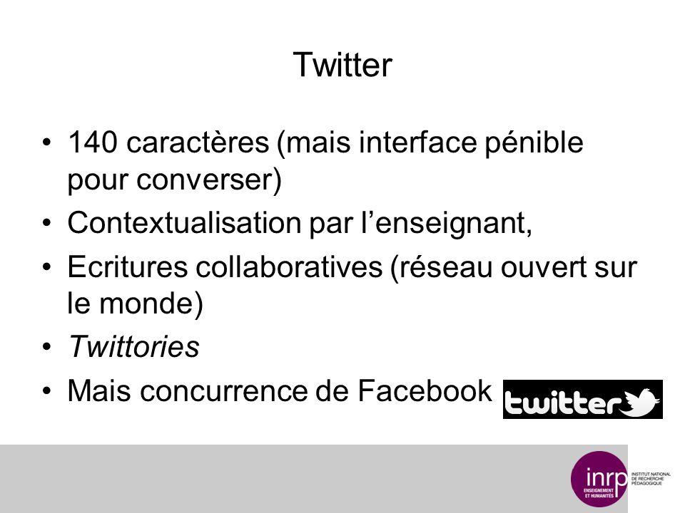 Twitter 140 caractères (mais interface pénible pour converser) Contextualisation par lenseignant, Ecritures collaboratives (réseau ouvert sur le monde) Twittories Mais concurrence de Facebook