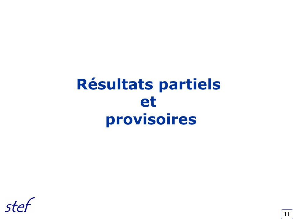 11 Résultats partiels et provisoires