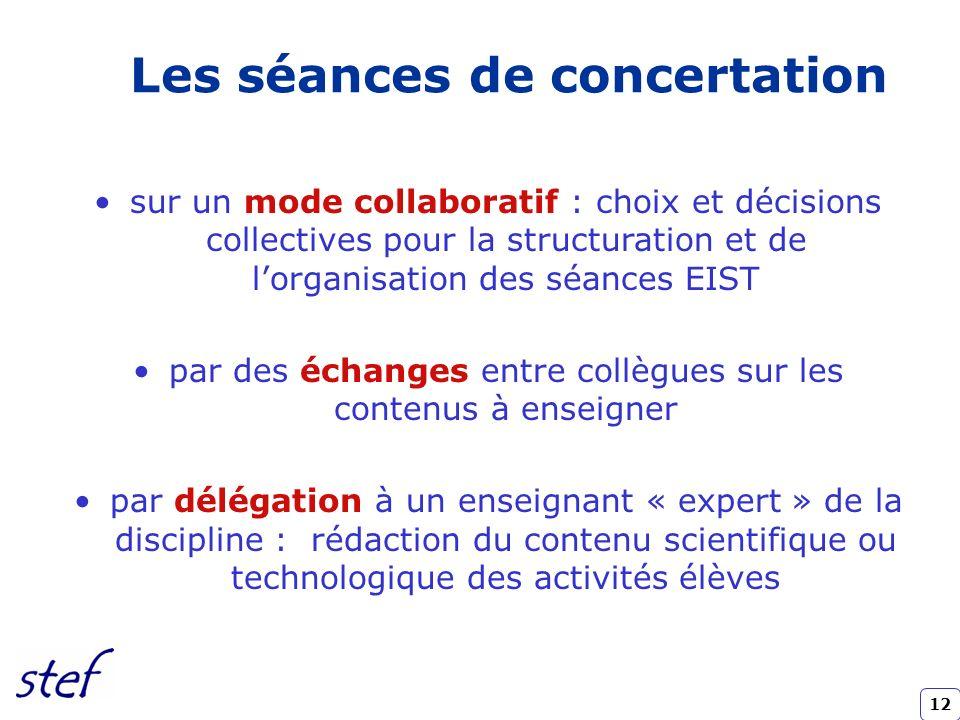 12 sur un mode collaboratif : choix et décisions collectives pour la structuration et de lorganisation des séances EIST par des échanges entre collègu
