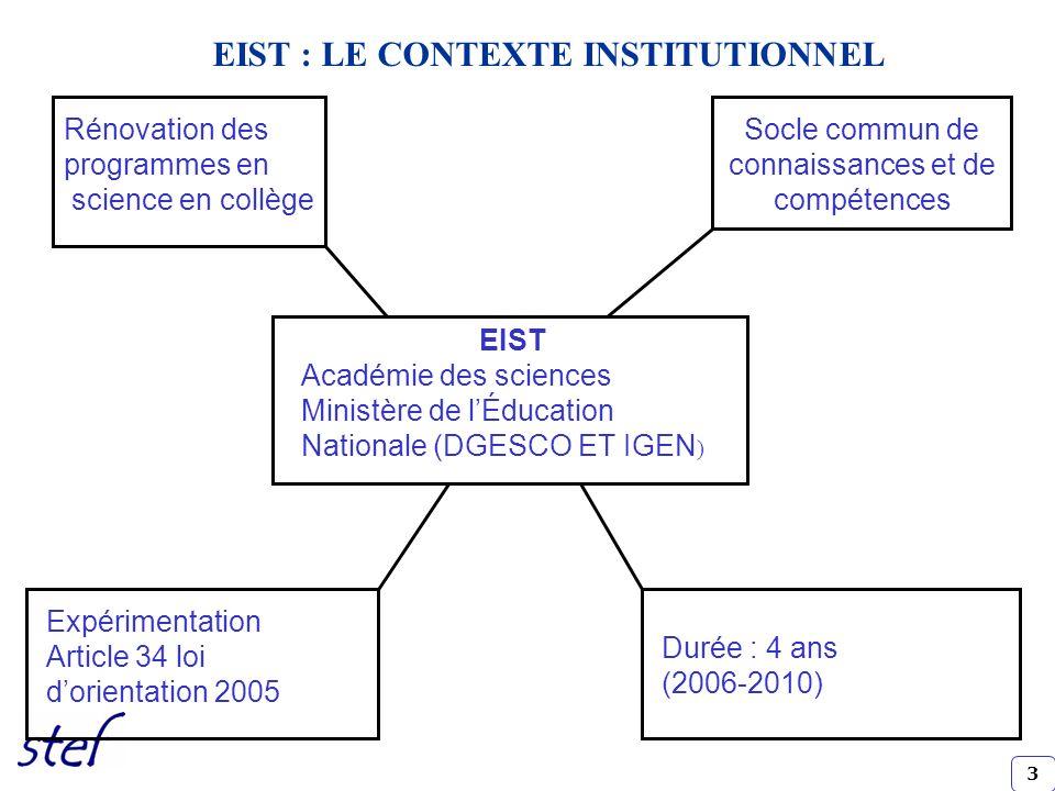 3 EIST Académie des sciences Ministère de lÉducation Nationale (DGESCO ET IGEN ) Rénovation des programmes en science en collège Socle commun de conna