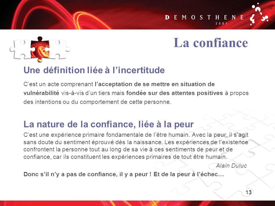 13 La confiance Une définition liée à lincertitude Cest un acte comprenant lacceptation de se mettre en situation de vulnérabilité vis-à-vis dun tiers