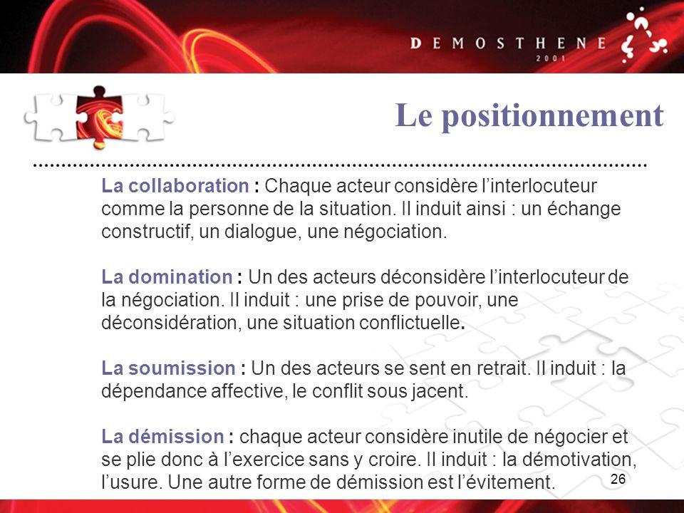 26 Le positionnement La collaboration : Chaque acteur considère linterlocuteur comme la personne de la situation. Il induit ainsi : un échange constru