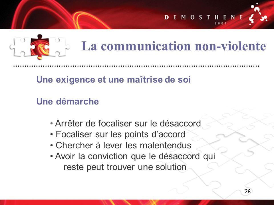 28 La communication non-violente Une exigence et une maîtrise de soi Une démarche Arrêter de focaliser sur le désaccord Focaliser sur les points dacco