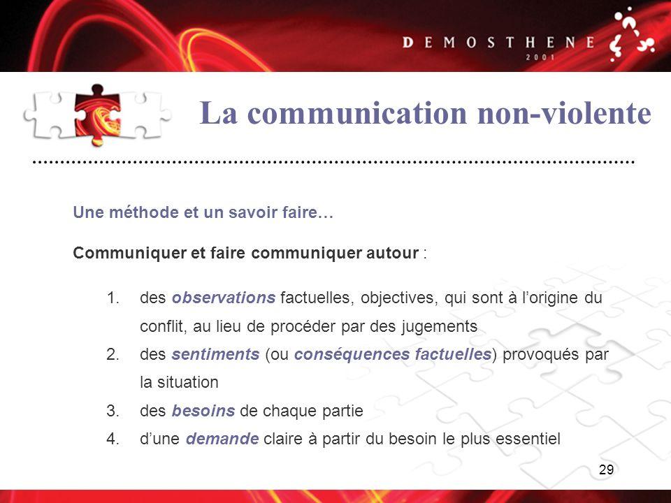 29 La communication non-violente Une méthode et un savoir faire… Communiquer et faire communiquer autour : 1.des observations factuelles, objectives,