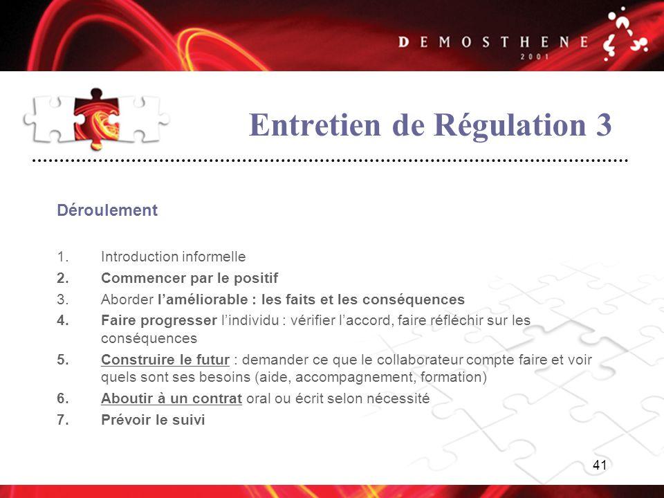 41 Entretien de Régulation 3 Déroulement 1.Introduction informelle 2.Commencer par le positif 3.Aborder laméliorable : les faits et les conséquences 4