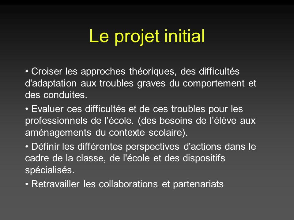 Le projet initial Croiser les approches théoriques, des difficultés d'adaptation aux troubles graves du comportement et des conduites. Evaluer ces dif
