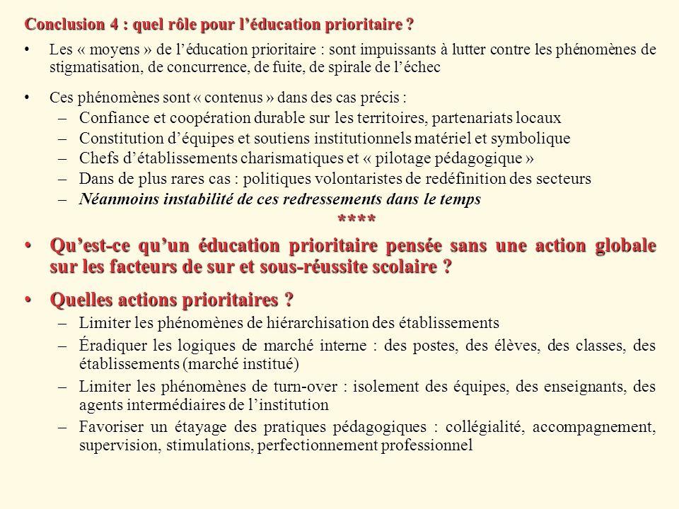 Conclusion 4 : quel rôle pour léducation prioritaire ? Les « moyens » de léducation prioritaire : sont impuissants à lutter contre les phénomènes de s