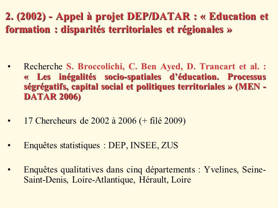 2. (2002) - Appel à projet DEP/DATAR : « Education et formation : disparités territoriales et régionales » « Les inégalités socio-spatiales déducation