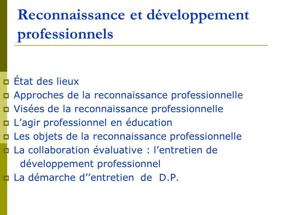 Reconnaissance et développement professionnels État des lieux Approches de la reconnaissance professionnelle Visées de la reconnaissance professionnel