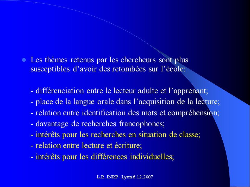 L.R. INRP - Lyon 6.12.2007 Les thèmes retenus par les chercheurs sont plus susceptibles davoir des retombées sur lécole: - différenciation entre le le
