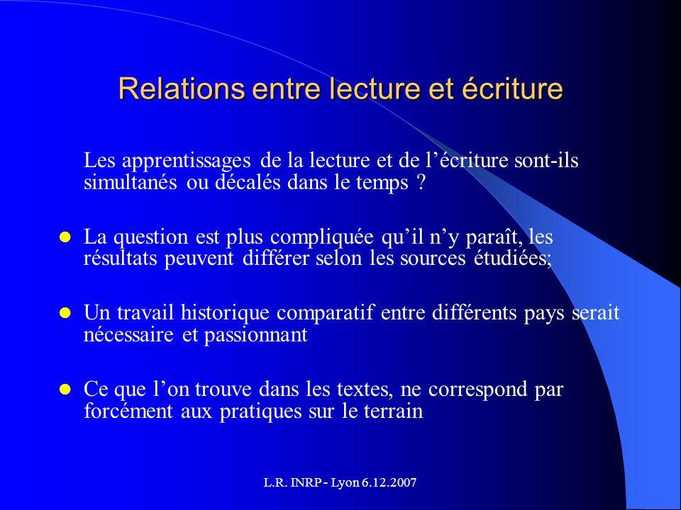 Relations entre lecture et écriture Les apprentissages de la lecture et de lécriture sont-ils simultanés ou décalés dans le temps .
